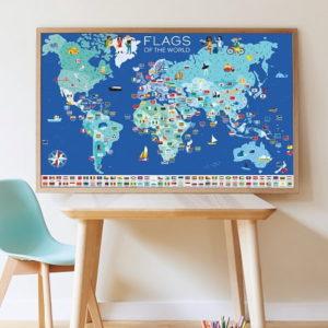 poppik-drapeaux creatifs- activité manuelle - stickers - gommettes-planisphere